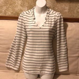 Elle Tops - Elle Medium White and Black Striped Top